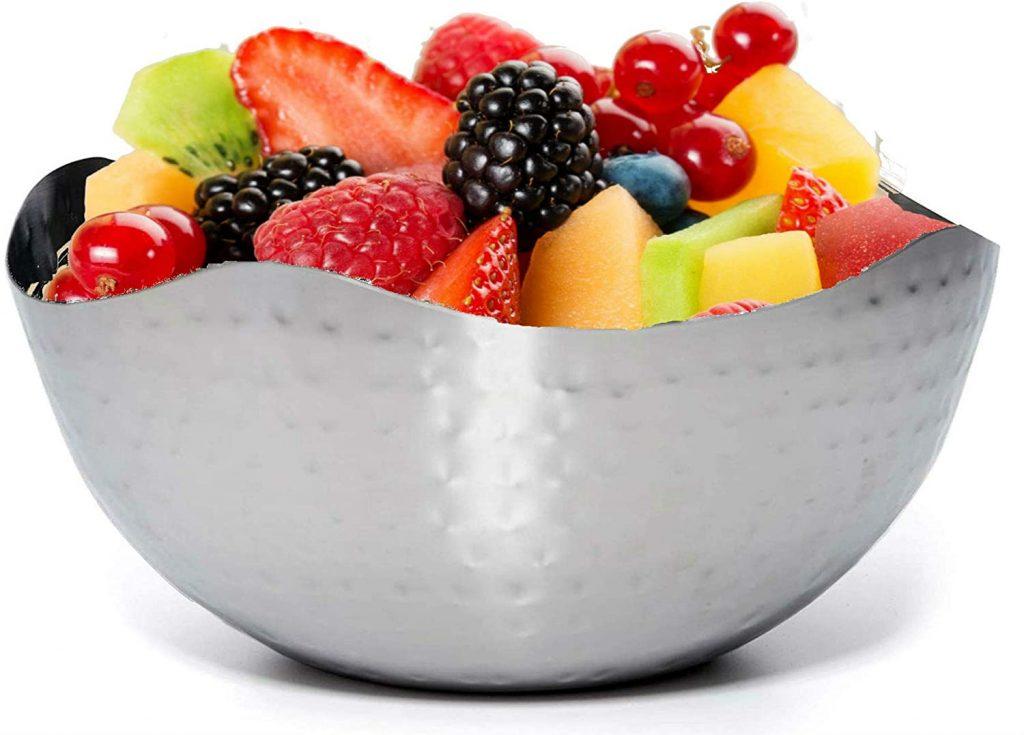 Hammered steel multipurpose fruit bowl