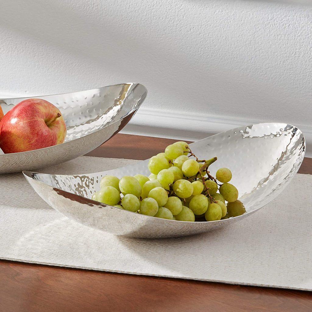 Hammered stainless steel silver fruit holder