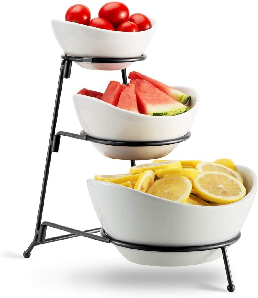 Three tiered ceramic fruit bowls with stand