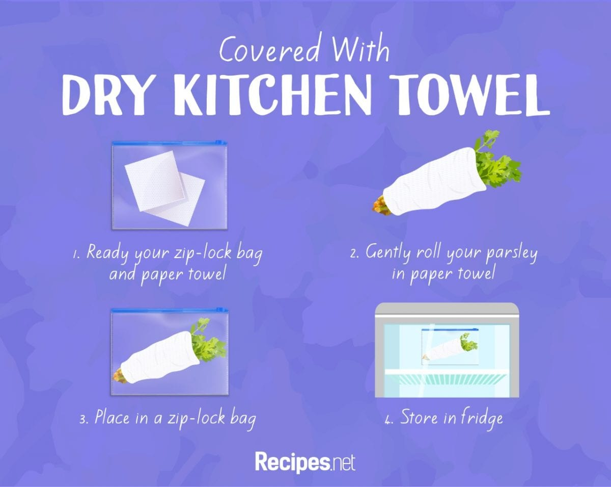 parsley Covered in Dry Kitchen Towel storage Method