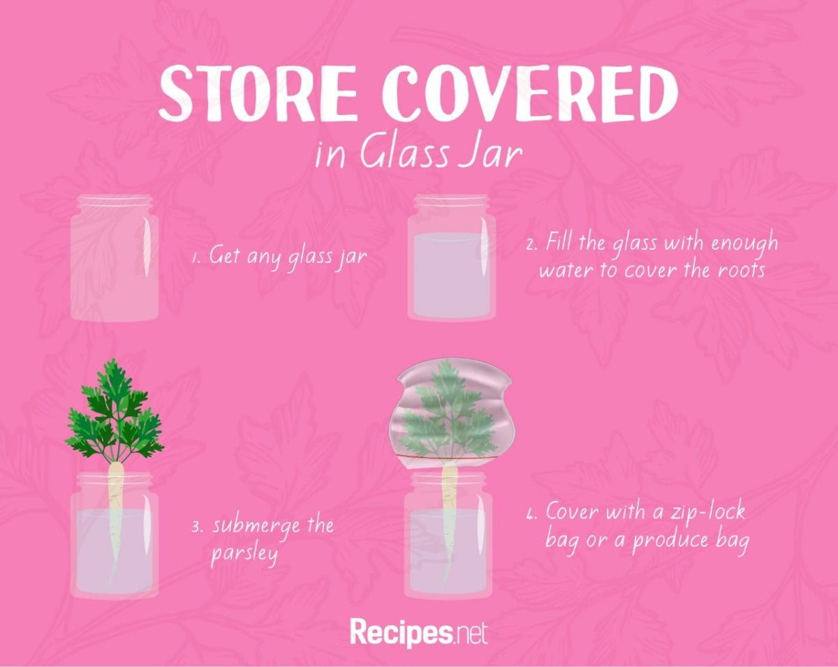 how to store parsley, Stored Covered in Glass Jar Method