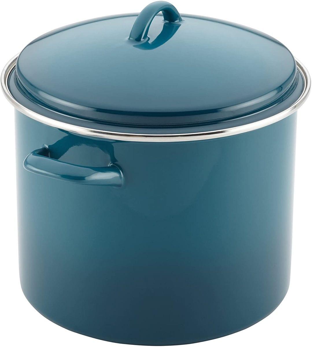 Rachel Ray enamel stock pot in marine blue