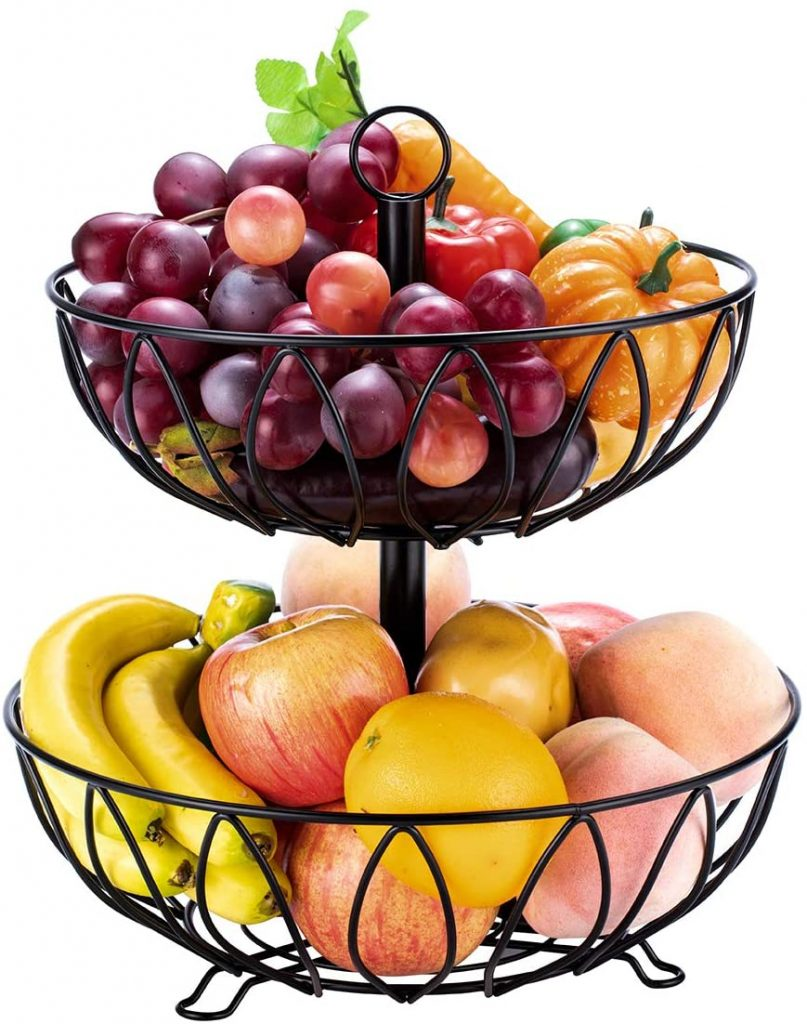 Durable two tiered metal fruit stand