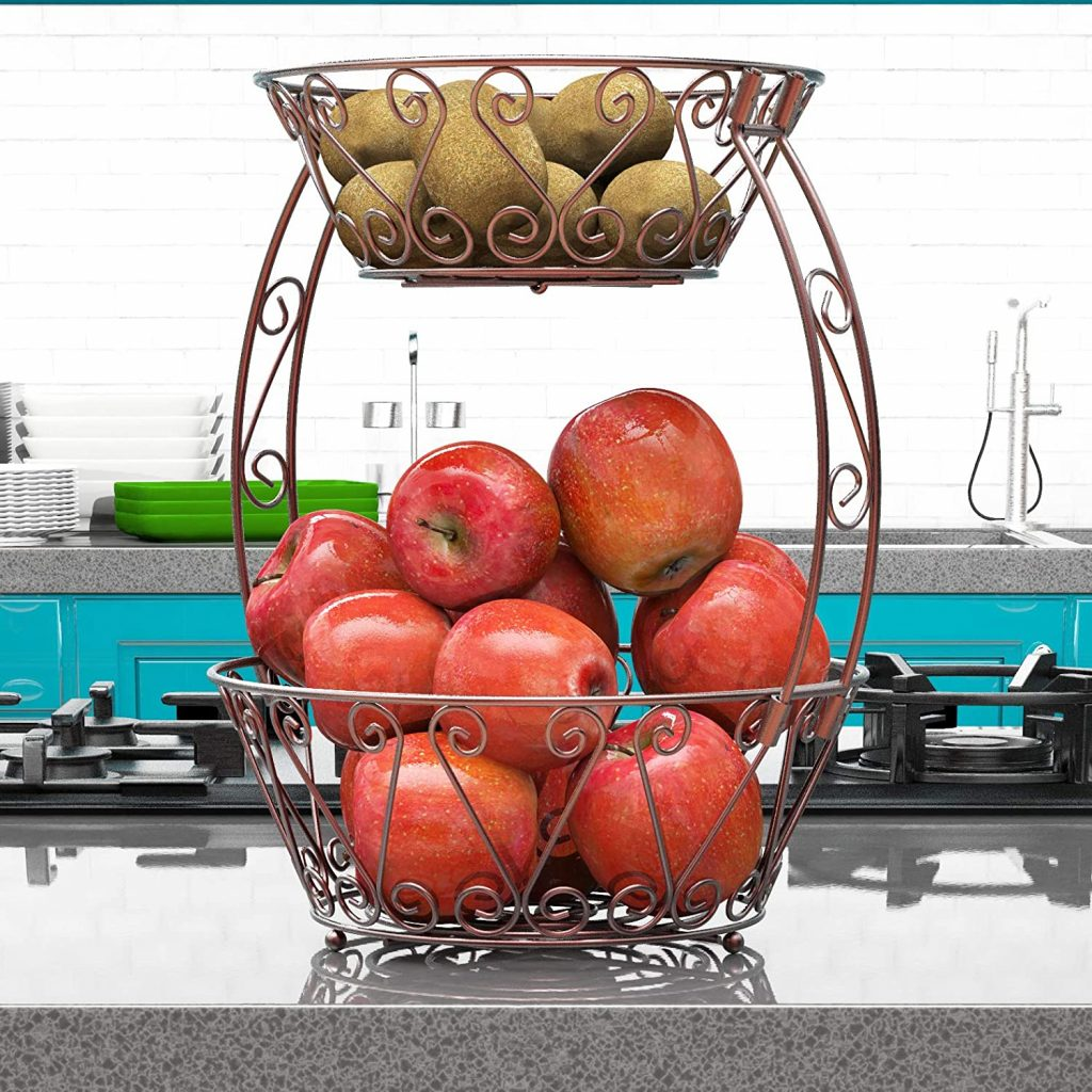 Two-tiered fruit bowl in countertop