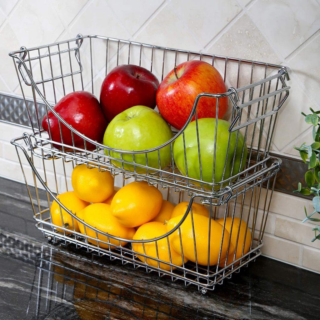 Stackable steel fruit baskets