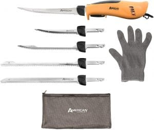 electric knives with 3 spare blades and a glove