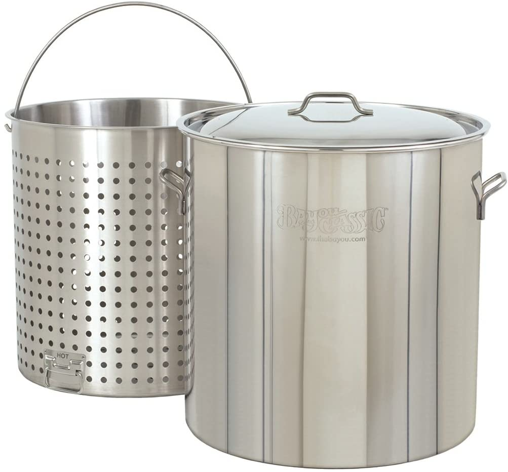 Bayou silver stock pot with boil basket