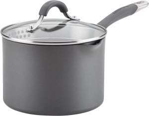 Circulon Radiance Hard-Anodized Nonstick Sauce Pan/Saucepan with Straining and Lid