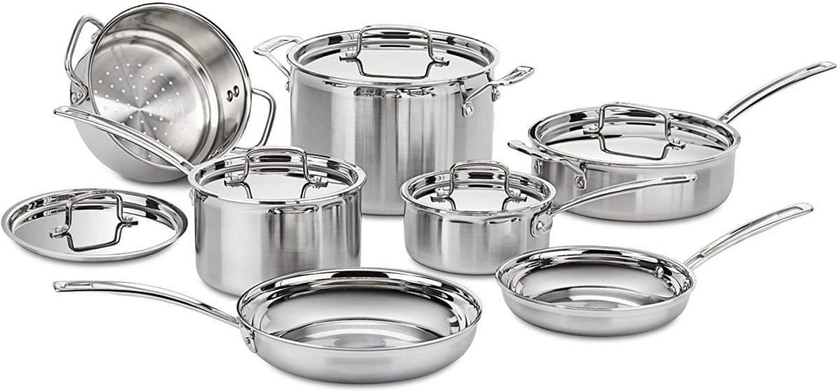 Cuisinart 12-piece silver cookware set