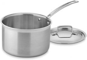 Cuisinart MCP194-20N MultiClad Pro Stainless Steel 4-Quart Saucepan with Cover, with a stainless steel handle and lid