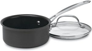 Cuisinart 619-14 Chef's Classic Nonstick Hard-Anodized 1-Quart Saucepan with Cover, saucepan with a nonstick finish, and transparent lid