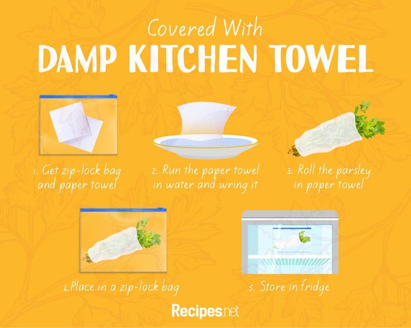 parsley Covered in Damp Kitchen Towel storage method