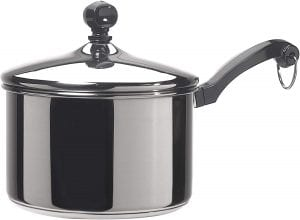 Farberware Classic Stainless Steel 2-Quart Covered Saucepan, with mirror satin finish, lid, and holder