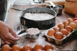 Flour, eggs, baking equipment
