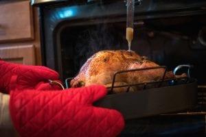 Person basting a roast turkey