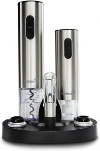 Ivation Wine Gift Set, with a wine aerator, electric vacuum wine preserver, two bottle stoppers, foil cutter, and a charging base