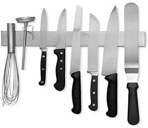 Modern Innovations 16 Inch Stainless Steel Magnetic Knife Bar, with utensils attached