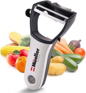 Mueller 4 in 1 Swift Julienne Vegetable Peeler, Y-shaped silicone handle with stainless steel blades
