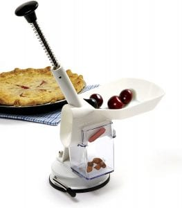 Norpro Deluxe Cherry Pitter Automatic Feed Tray, with cherries and pie