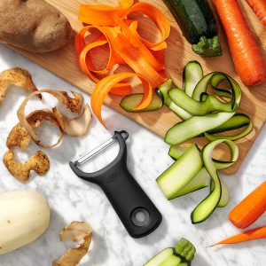 OXO Y-Shaped Vegetable Peeler, with potato, carrot, cucumber peels