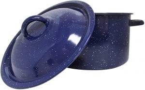 blue speckled enamel pot