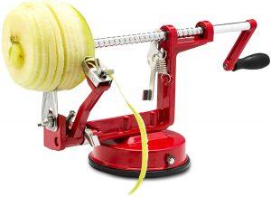 Apple and potato peeler by Spiralizer peeling an apple