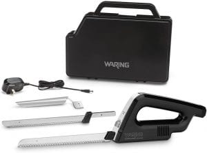 electric knife, 2 blades, a power cord, and a storage case