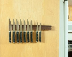 WooDsom Customized Powerful Magnetic Knife Strip, with knives attached