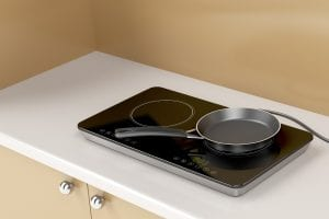 Metal pan on a portable induction cooktop