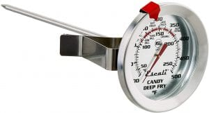 Escali AHC1 NSF Certified Candy/Deep Fry/Confection Thermometer, with stainless steel probe, dial, and clip