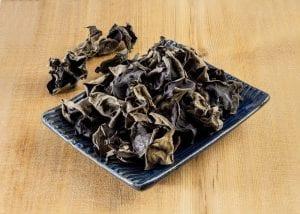 Dried kikurage ramen garnish or wood ear mushrooms on a small serving dish