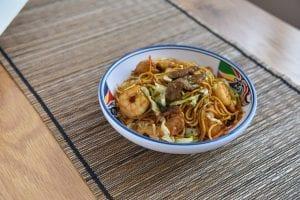 Bowl of lo mein noodles