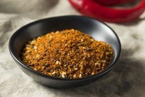 Bowl of shichimi togarashi or seven-spice blend