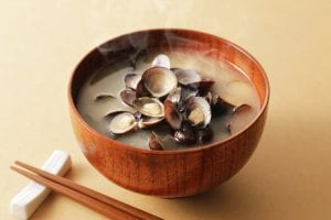 Shijimu clams in a bowl of soup