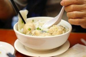 Wonton dumplings in a bowl of soup