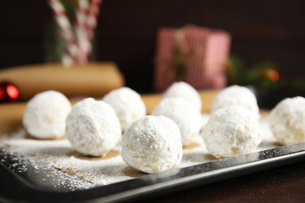 Mocha Pecan Butterball Cookies, Italian Christmas butterball recipe with powdered sugar
