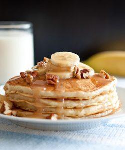 Banana Bread Pancakes with Cinnamon Syrup Recipe
