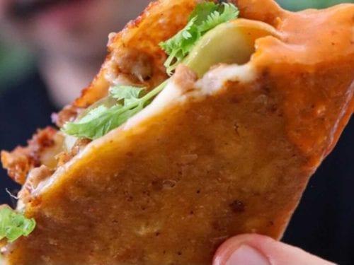 crispy chorizo & cheese taco-quesadillas with simple salsa recipe