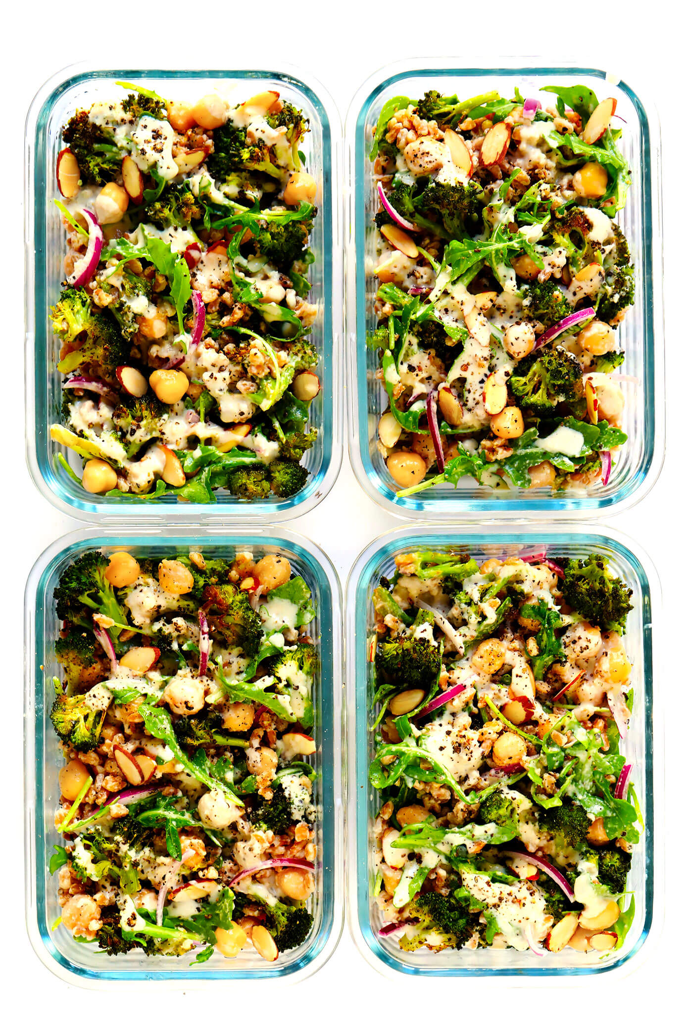Roasted Broccoli Farro Bowls Recipe