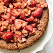 Strawberry Rhubarb Almond Cake Recipe