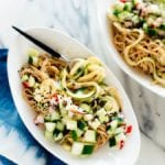 almond-sesame soba zoodles with quick-pickled veggies recipe
