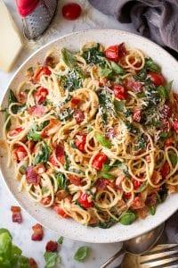 Bacon Tomato and Spinach Spaghetti Recipe