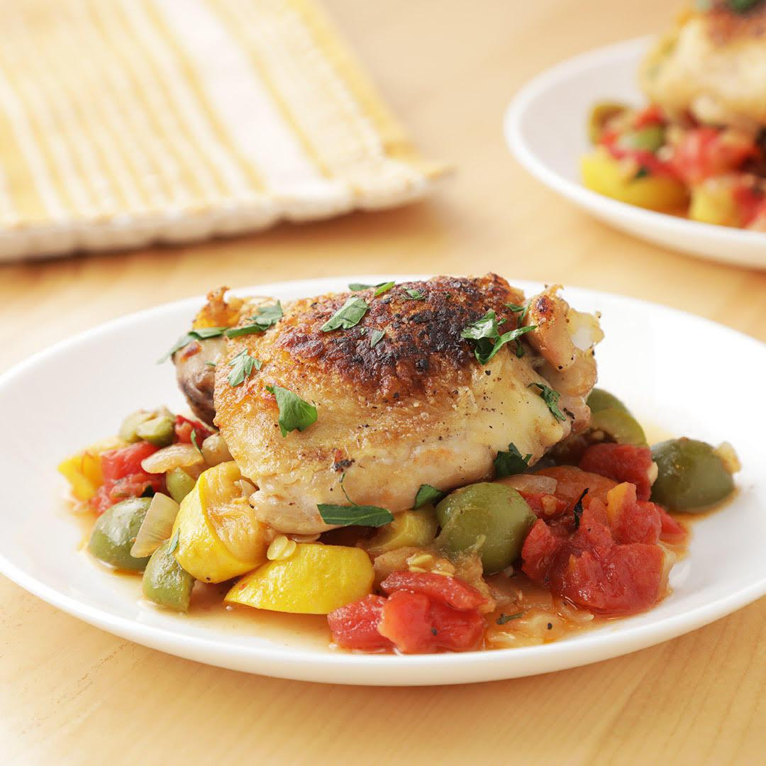 baked chicken with mezzetta olives and roasted red peppers recipe