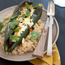 Beer Bean-Stuffed Poblano Peppers Recipe