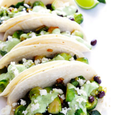 Brussels Sprouts Tacos with Creamy Avocado Sauce Recipe