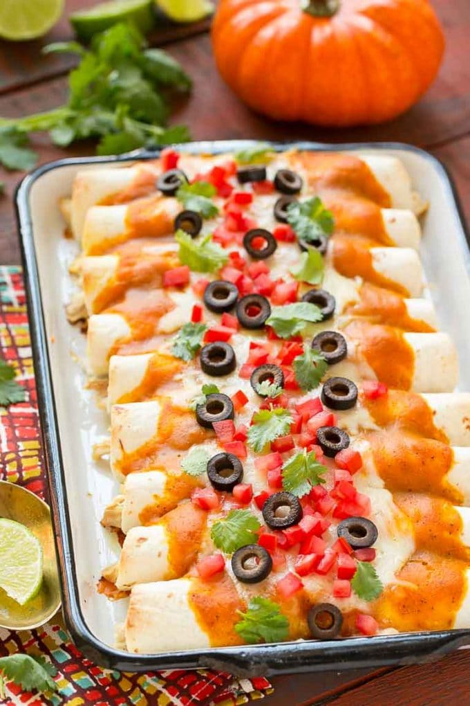 Chicken Enchiladas with Pumpkin Sauce Recipe
