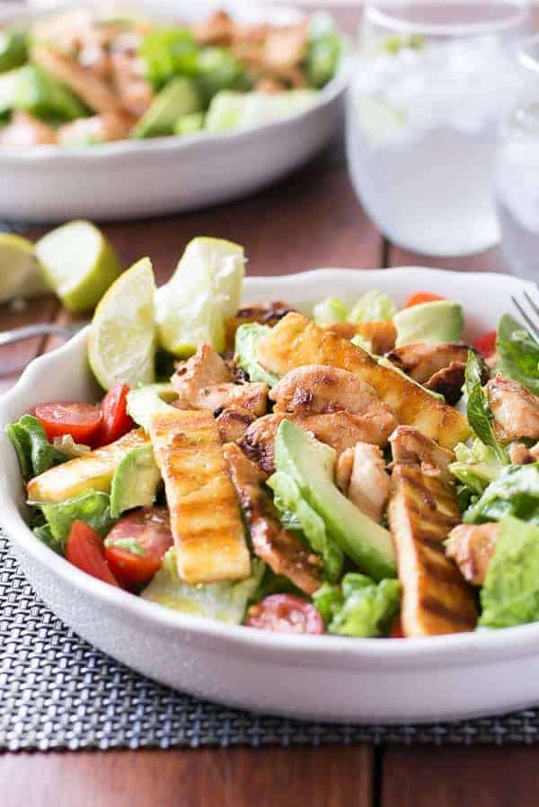 chicken, haloumi and avocado salad with lime dressing recipe