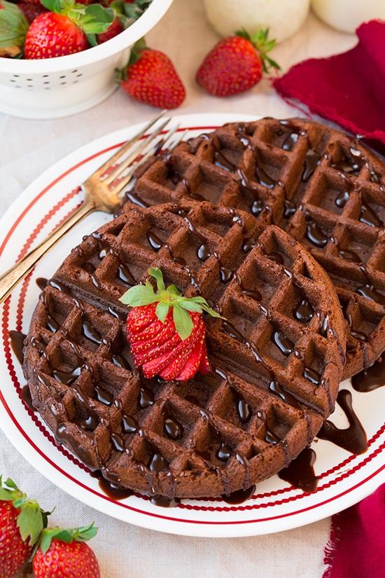 Chocolate Cake Mix Waffles Recipe