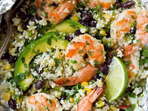 """cilantro lime shrimp and cauliflower """"rice"""" foil packs recipe"""