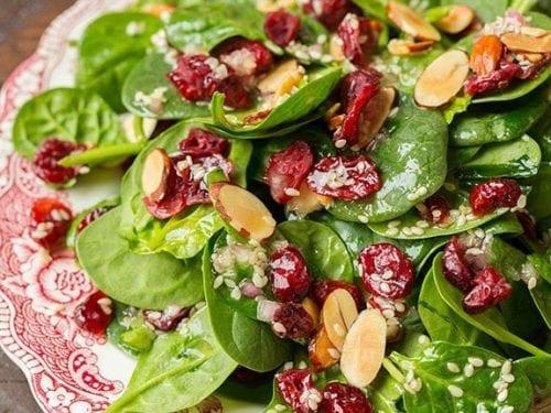 cranberry almond spinach salad recipe